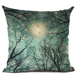 Green Office Chairs UK - beautiful night scenic cushion cover bird tree branch throw pillow case for sofa chair modern home office almofada moon cojines