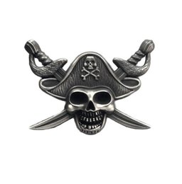 Chinese  Luxury Pirates of the Caribbe Badge Skull Brooch Motorcycle Biker Brooches For Jacket Hat Retro Metal Collar Pin Brooch manufacturers