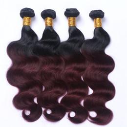 Dip Dye brazilian hair online shopping - Dark Root Dip Dye Ombre B J Burgundy Two Tone Human Hair Weft Bundles Wine Red Ombre Hair Weaves