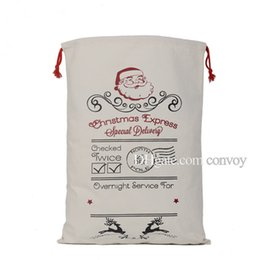 kids sack UK - Christmas White Gift Bags 50*70cm Canvas Santa Sack Drawstring Bags Kids Xmas Gift Packing Bag With Reindeers Santa Claus Sack CFB12