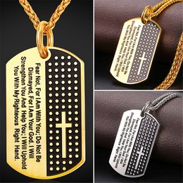 Chinese  U7 New Inspirational Jewelry Cross Letter Pendant Necklace Gold Plated Stainless Steel Rope Chain Dog Tags Lord Prayer for Women Men GP2378 manufacturers