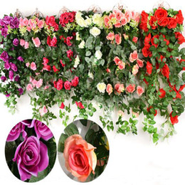 $enCountryForm.capitalKeyWord Canada - Fake Silk Roses Ivy Vine Artificial Flowers with Green Leaves For Home Wedding Decoration Hanging Garland Decor
