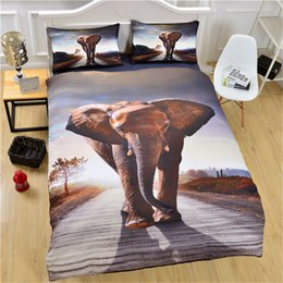Queen Bedspread Set Canada - Wholesale 3D Animal Elephant Bedding Set Quality HD Printed Duvet Cover Bedlinen 3Pcs Twin Full Queen King Bedspread Bedding