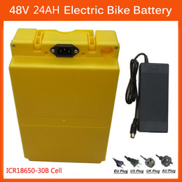 Cell Lithium Ion Battery Canada - Rechargeable 1000W 48V 24AH E Bike battery 48 V lithium ion battery use for samsung cell With 30A BMS 54.6V 2A charger