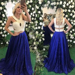 luxurious party gowns 2018 - Luxurious Royal Blue Lace Two Pieces Long Prom Dresses With Pearls Button Back Formal Prom Gowns Robe De Bal Party Eveni