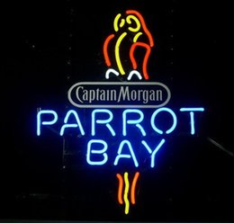 Parrot disPlay online shopping - Parrot Bay With Board Captain Mogan Spiced Rum Neon Sign Beer Bar KTV Store Club Real Glass Advertising Display Neon Signs quot X17 quot