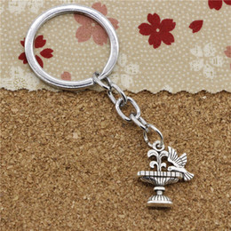 Key Chain Drink Canada - 15pcs Fashion Diameter 30mm Metal Key Ring Key Chain Jewelry Antique Silver Plated parterre bird drinking 21*17mm Pendant