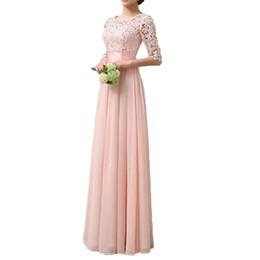 Chinese  Long Dress Women Dress Lace Chiffon Half Sleeve Slim Maxi Long Gown Elegant Princess Party Dresses Vestido De Festa 17404 manufacturers