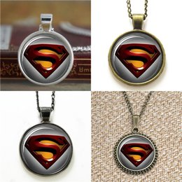 super alloy superman NZ - 10pcs Superman Super Hero Man of Steel Glass Photo Necklace keyring bookmark cufflink earring bracelet