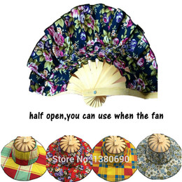 154892de Wholesale- 2016 NEW Sun Hat Fashion Bamboo Hand Fan 1pcs lot Folding Fan  Summer Folding Bamboo Fan Cap Traveling-cap