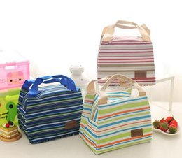 insulation prices 2018 - Portable Lunch Bag men Oxford Stripe Cooler Thermal Insulation Travel Picnic Food Lunch Bag picnic tote Case Storage Bag