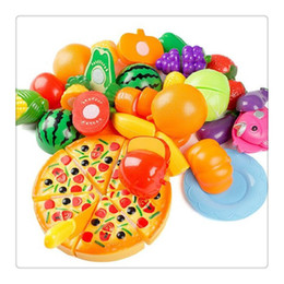 fruit cutting toy for kids Canada - 24Pcs Plastic Fruit Vegetable Kitchen Cutting Toy, Cutting Early Development and Education Toy for Baby Kids Children