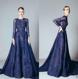 Robe Bleue À Long Tulle Pas Cher-2017 Ellie Saab Robes de soirée Naby Blue Ruffles Beaded Appliques Lace Prom Dress Long Sleeves Dubai Arab Evening Vestidos Vestidos