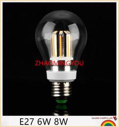 Discount chip warmer globe - ZHAO 50PCS High Power E27 6W 8W Chips LED Bulb Light Lamps Glass Globe Lamp Edison Filament bulb WarmWhite 110V-240
