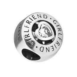 sterling silver bracelet for girlfriend NZ - Pandulaso Girlfriend Charm Button Beads Fits Pandora charms Bracelets Woman DIY Beads for jewelry making Authentic 925 Sterling silver