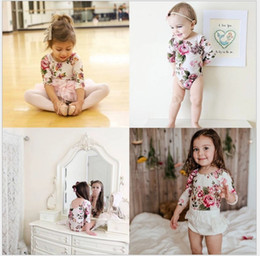 Wholesale 2017 New Hot Sale Girls Floral Printed Long Sleeve Jumpsuits Baby Girl Backless Rompers Lovely Kids Fashion Onesies One Piece cm