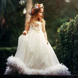 Make Feathers Canada - Luxury Feather Lace Girls Pageant Dress Jewel Pearls Hand Made Flowers Girl's Birthday Dresses 2017 Lovely Flower Girls Dresses For Wedding