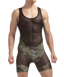 Men Sheer Boxer Canada - Nylon sheer Mens sexy Underwear Transparent See through Camouflage patchwork Male Boxer shorts Bodysuits Gay sexy lingerie
