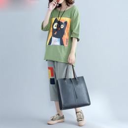 T Shirt Woman Korea Australia - Summer T-Shirt Plus Size Women Cotton Cat Print T-Shirt Female Casual Cotton Loose Korea Vintage Lady Batwing Short Tops