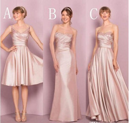 Chinese  2017 Blush Pink Cheap Satin Bridesmaid Dresses V-neck Sweetheart Three Style Ruched Pleats Kelseyrose Short Long New Wedding Guest Dresses manufacturers