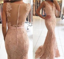 Robes De Sirène À Perles Roses Pas Cher-.Evening Dresses Wear 2017 New Sexy V Neck Illusion Lace Appliques Beaded Blush Pink Mermaid Long Sheer Back Robe de soirée formelle Robes de bal