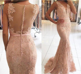Barato Vestido De Formatura-.Evening Dresses Wear 2017 Novo Sexy V Neck Illusion Lace Appliques Beaded Blush Pink Mermaid Long Sheer Back Formal Party Dress Prom Gowns