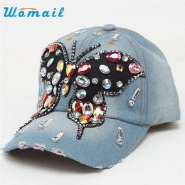 $enCountryForm.capitalKeyWord Canada - Wholesale- Womail Baseball Cap Women Fashion Butterfly Hip-Hop Full Diamond Flat Snapback Hat for women 2017 #20 Gift 1pc