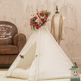 wood dog houses Canada - Lace Cotton Pet Puppy Cat Kitten Nest Play Toy House Play Kennel Teepee Tent Lovely Warm Small Dog Teddy Indoor Bed ZA2960