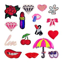 $enCountryForm.capitalKeyWord NZ - 16pcs Sequins Cartoon Cute Iron On Patches Sewing Iron On Applique For Cloth Badge Motif