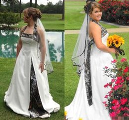 $enCountryForm.capitalKeyWord Australia - 2019 Plus Size Camo A Line Wedding Dresses Cheap Halter Sleeveless Satin Bridal Gowns Camouflage Cheap