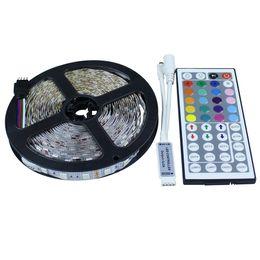 44 Keys Ir Remote UK - Wholesale-5M LED Strip Light 5050 SMD Non-waterproof RGB 300Leds Flexible LED Tape String With Mini 44 Key IR Remote Controller Led Ribbon