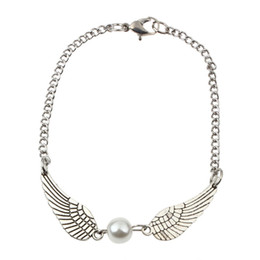 Peace rings online shopping - Fashion Women Braclet Silver Pearl Angel Wings Jewely Dove Peace Bracelet Gift