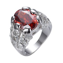 Chinese  2017 New Fashion Red White Gold Filled Ring Men's 10KT Finger Rings Bague Homme Man Gorgeous Jewelry Size 8 10 Luxurious RW0024 manufacturers
