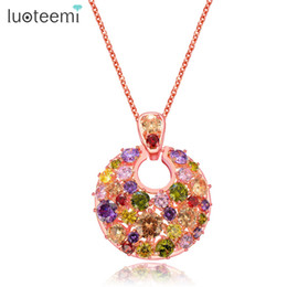 flower shaped gift Australia - LUOTEEMI New Fashion Round Shape Pendant Multicolor CZ Rose Gold Color Necklace for Women Wedding Party Love Gift Jewelry