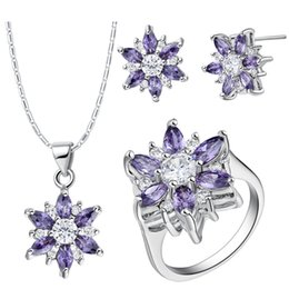Custom Jewelry Sets Australia - 925 Sterling Silver pendant Earrings ring Women Gift word Jewelry sets NEW suits custom-made suit high-end European and American pop petals