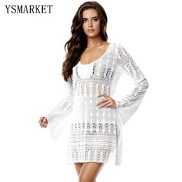 Barato Maiô Pescoço-Hot Women Sexy V Neck Hollow Out Sheer White Lacy Crochet Summer Praia Túnica New Long Sleeve Loose Swimsuit Beach Dress Q42143