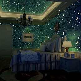 Discount moon stars lights kids bedroom 2018 moon stars lights non woven luminous wallpaper roll stars and the moon boys and girls childrens room bedroom ceiling fluorescent home wallpaper moon stars lights kids mozeypictures Gallery