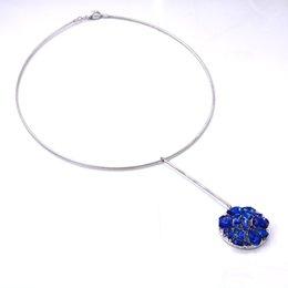 collana di breve colore nuovo design blu collana Secret Garden rose lussuoso collana di gioielli di strass blu collana ciondolo coclea set