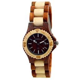Bewell w020al moda feminina vermelho e maple sândalo relógio de pulso com pulseira de couro de luxo mulheres saudável e quarts relógios w020al em Promoção