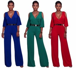 32981030cc5 Elegant Ladies Jumpsuits Off The Shoulder Women Overalls Summer OL Office  Women Wide Leg Jumpsuit V-Neck Ruffle Women Rompers