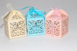 small paper gift boxes UK - paper laser cut crucifix christening baptism favor wedding candy box favor small paper bags gifts box