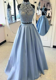 Modeste Robe De Bal Royal Blue Pas Cher-2017 Robes de bal Light Sky Blue Ceintures en satin et dentelle Coupe haute Backless A-line Robes de soirée modestes Robes de soirée féminine sur mesure