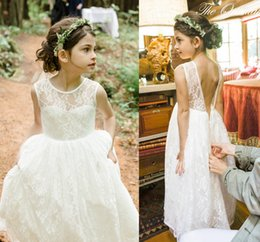 romantic beach country children white ivory lace flower girl dresses 2017 princess a line birthday kids bohemian wedding formal gowns