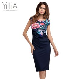 $enCountryForm.capitalKeyWord Canada - Yilia 2017 Womens Elegant Floral Print Bodycon Dress Ruched Cap Sleeve Casual Bridesmaid Mother of Bride Party Dresses Plus Size q171125