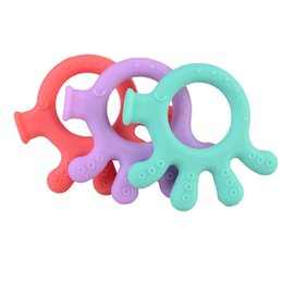 food pendant UK - Baby Teether Toys Food Grade Silicone Teething Pendant Cartoon Octopus Teether Baby Infant Teething Beads Chewable Nursing Necklace