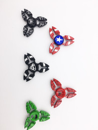 Captain ameriCa shield hand spinner online shopping - Superheroes Fidget spinner Captain America Shield Iron Spider man hulk metal hand spinners Rainbow spinning top finger toys in retail box