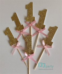 Custom Cupcake Toppers Australia - Wholesale-20pcs custom number Gold Glitter Cupcake Toppers with Pink Bow 1st Birthday wedding toothpicks Bridal baby shower party decor