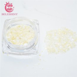 Discount 3g box - Wholesale- Beleshiny 3g box Crushed Shell Chips Powder For UV Acrylic System 3D Nail Art Decoration Rhinestones For Nail
