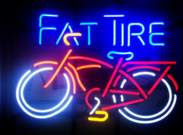 "industrial tube lights NZ - 17""x14"" New FAT TIRE Belgian Beer Bar Real Glass Tube Neon Light Sign Store Decor"