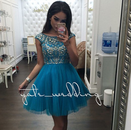 Robe Noire Manche En Argent Pas Cher-Teal Blue Tulle Short Robes Homecoming Manteaux Cap Bijoux Argent Beaded Plissé Pink Black Party Robes Backless Prom Robes